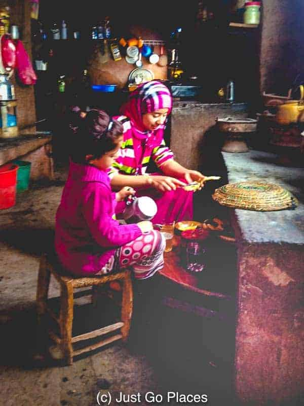 A charming scene in a Berber kitchen in the Ourika Valley