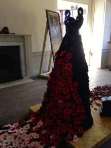 wedding dress made of poppies