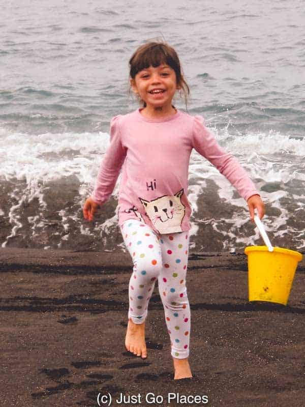 We were doing some sightseeing on the island and made a quick pitstop for some bucket and spade time on a black sand beach Tenerife