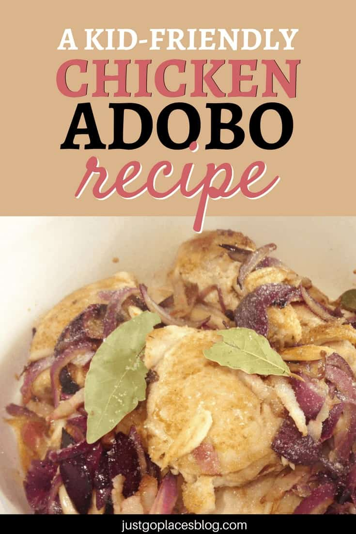 Chicken Adobo is by definition THE Filipino comfort food. Fried chicken cooked with soy, vinegar, onion, garlic and ginger, and served over rice…. mmm so good! Check out this chicken adobo recipe that is kid-friendly (not spicy!) - kids and adults alike will love it! #filipinofood #chickenrecipes #chickenthighs #chickendinner #recipeideas #kidfriendly - via @justgoplaces