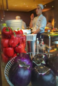 The kitchen display at Oblix at the Shard in London
