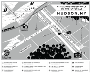 A map of Hudson in New York in the Hudson Valley