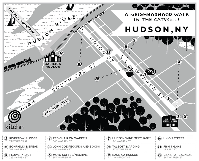 A map of Hudson New York in the Hudson Valley