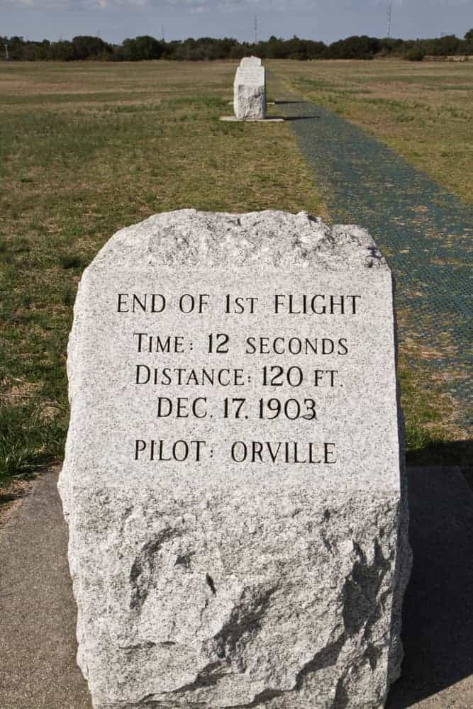 Markers at the Wright Brothers Memorial