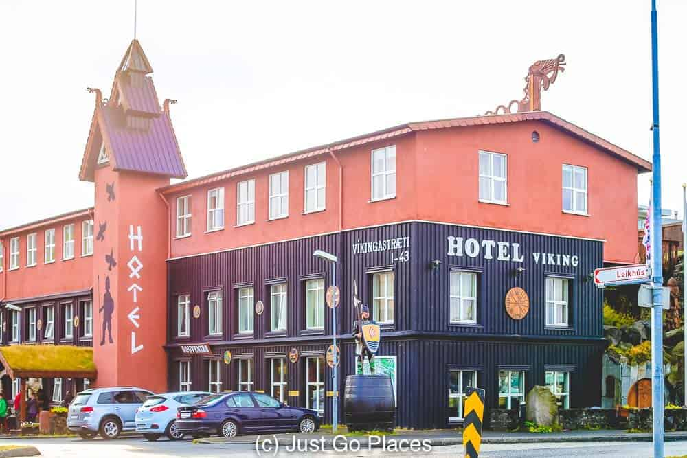 Hotel Viking is an affordable option for visiting Iceland with kids because it has cottages and is only 10 minutes from Reyjkavik.