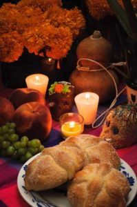 Mexican day of the dead offering altar (Dia de Muertos)