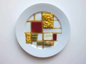 Mondrian style Thanksgiving plate by artist Hannah Rothstein