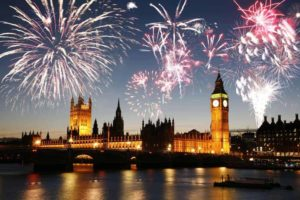 Fireworks over Palace of Westminster