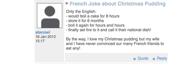 French joke about Christmas pudding