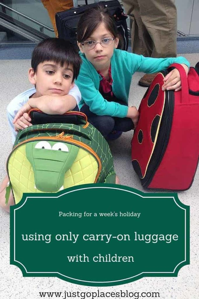 going on vacation with children for a week using only carry on luggage