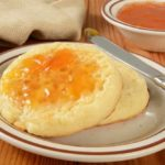Crumpets with apricot jam