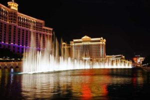 Musical fountains of Bellagio Hotel on Flamingo background