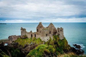 A ruined castle on the Antrim Coast Road, Northern Ireland (