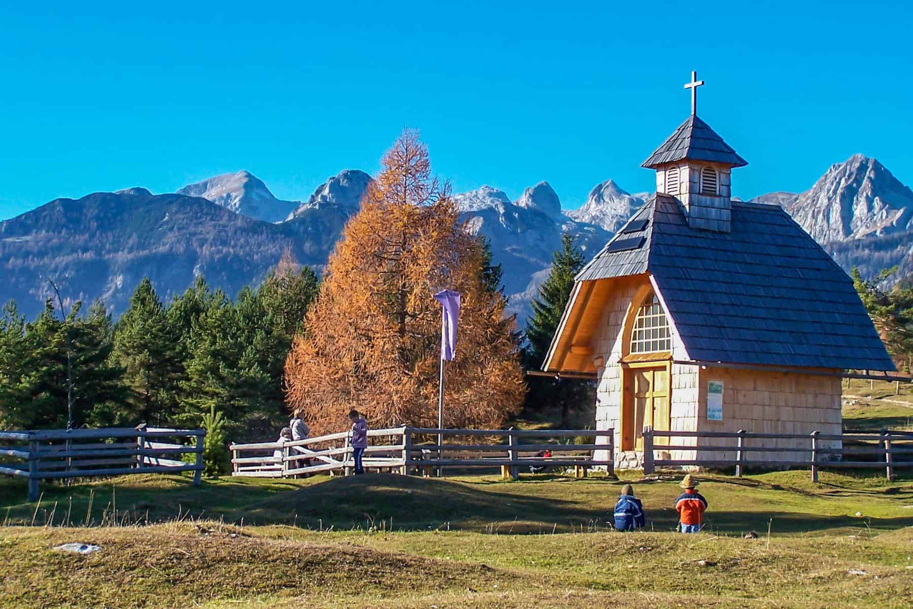 Our Lady Queen of Peace chapel in the Uskovnica Alpine Meadow, Pokljuka Plateau, Triglav National Park