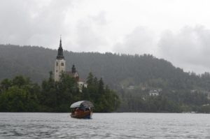 Lake Bled and a traditional boat