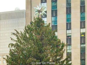 The Christmas tree Rockefeller center with the Swarovski crystal topper