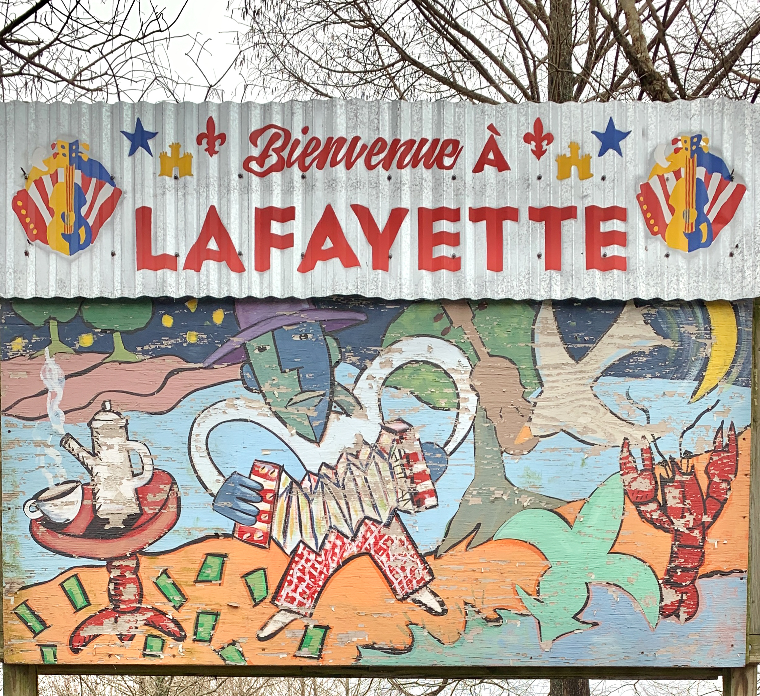 a welcome to Lafayette sign in French
