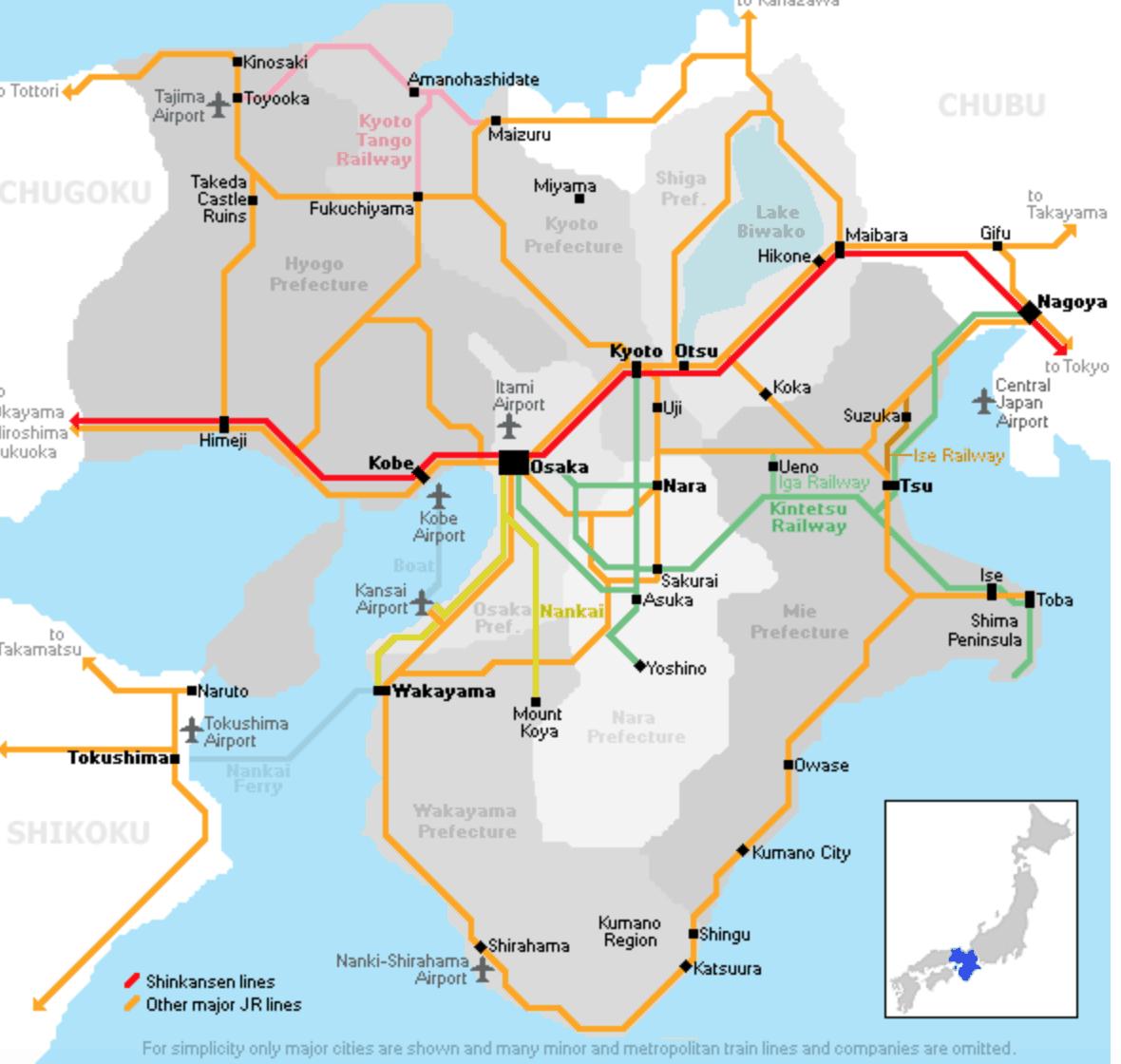 A Rail map of the Kansai region