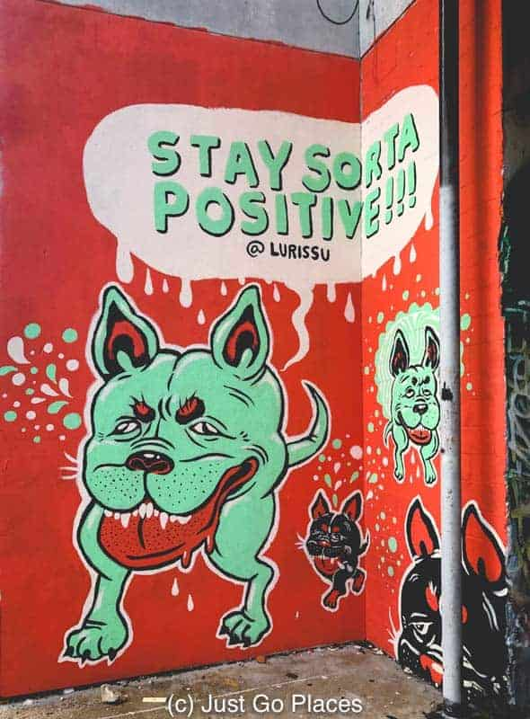 Stay Sorta Positive street mural in Downtown Houston