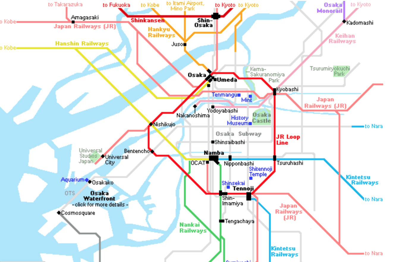 This simplified map shows where Tennoji is in relation to the Osaka loop line (photo credit: JR Rail)