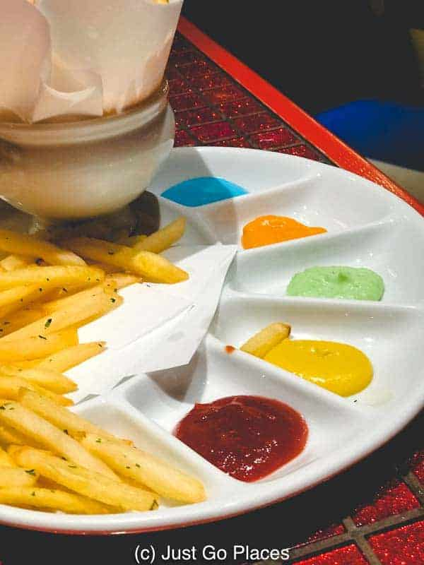 The french fries and neon color dips at the Kawaii Monster Cafe Harajuku