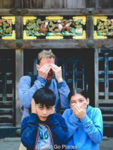 Imitating the famous three monkeys in Nikko (see, hear and say no evil)