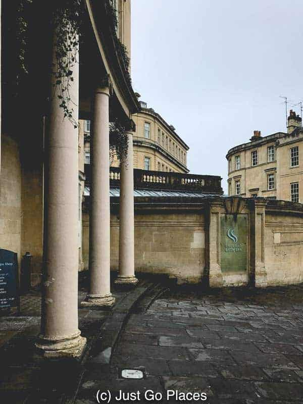 Bath stone and columns mark the entrance to the Thermae Spa