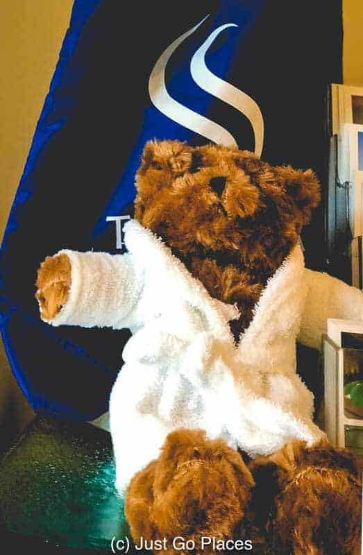 Even the teddy gets a complimentary robe to snuggle up.