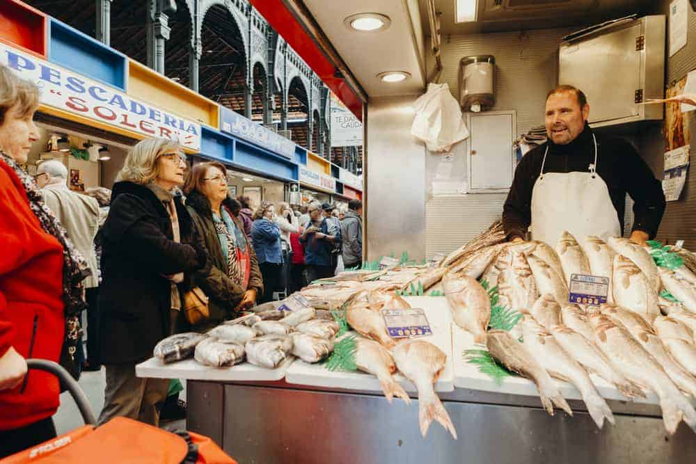Fresh fish being sold at Atarazanas Market in Malaga