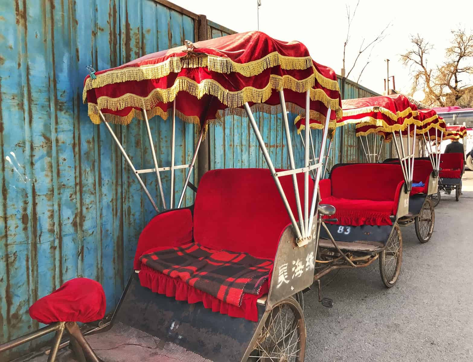 The rickshaw tours of the hutongs start near Houhai Lake