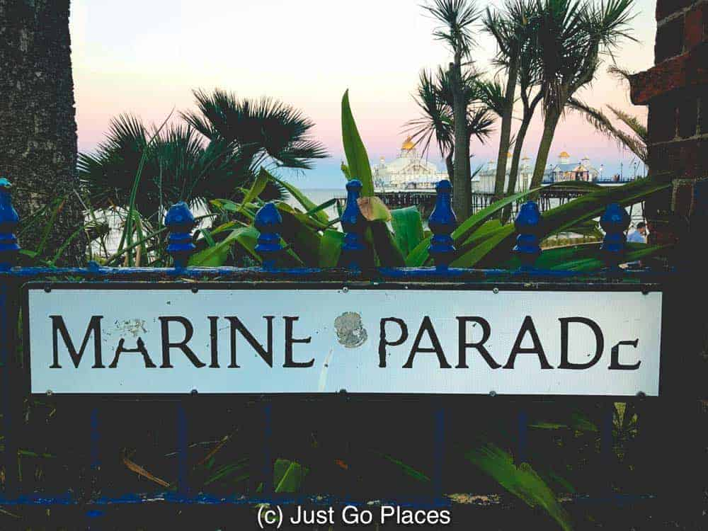 Sunset over the Marine Parade sign.