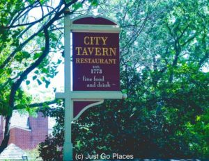 A City Tavern Philadelphia PA sign is proud to announce that it was around before the American Revolution.