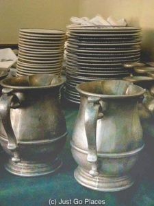 The tankards remind you that you are in one of old city Philadelphia's restaurants.