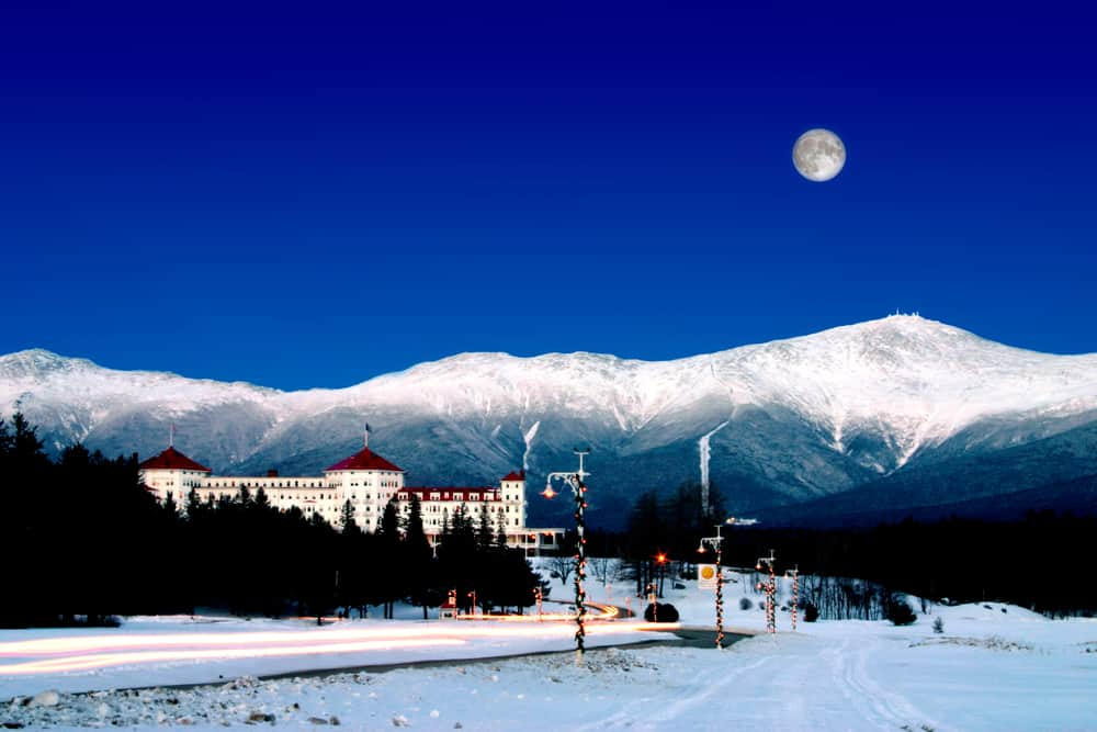 The Mount Washington Hotel is a historic landmark in Bretton Woods, one of the best ski resorts New Hampshire