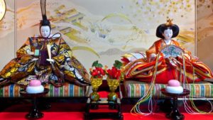 At the top of the Hinamatsuri doll set are representation of the Emperor and Empress, representing the hierarchy in society as well.