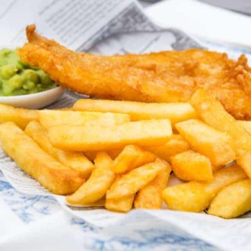 Fish and chips mushy peas - a classic British dish