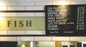 The Seashell of Lisson Grove menu has an extensive choice of fish.