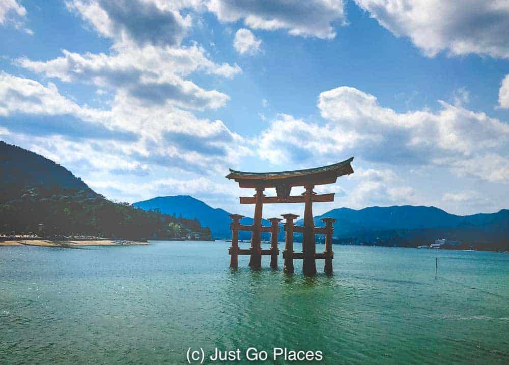 One of the most famous shrines in Japan appears to float off the water of Miyajima Island near Hiroshima in Japan