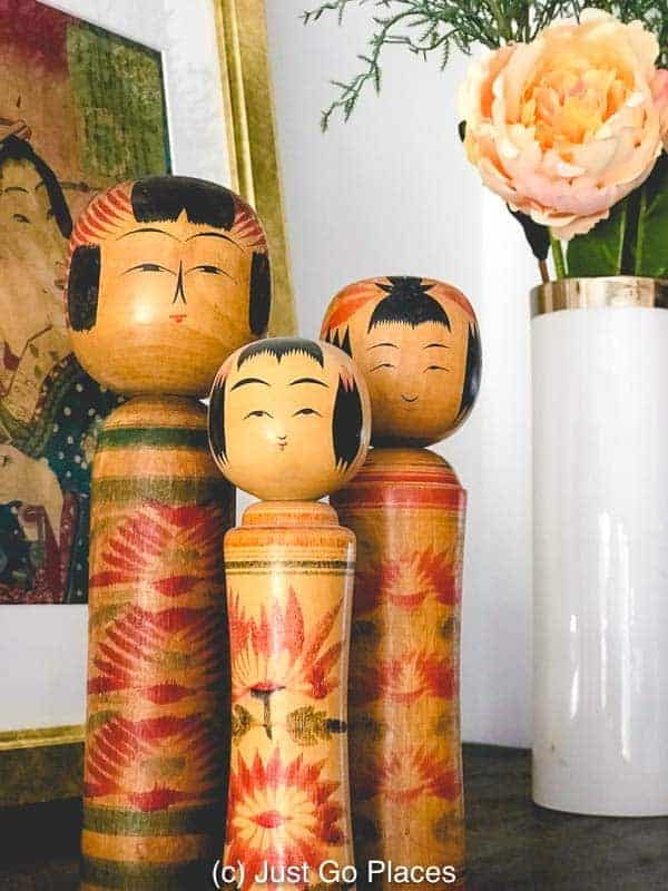Vintage Kokeshi dolls are handmade so each are different