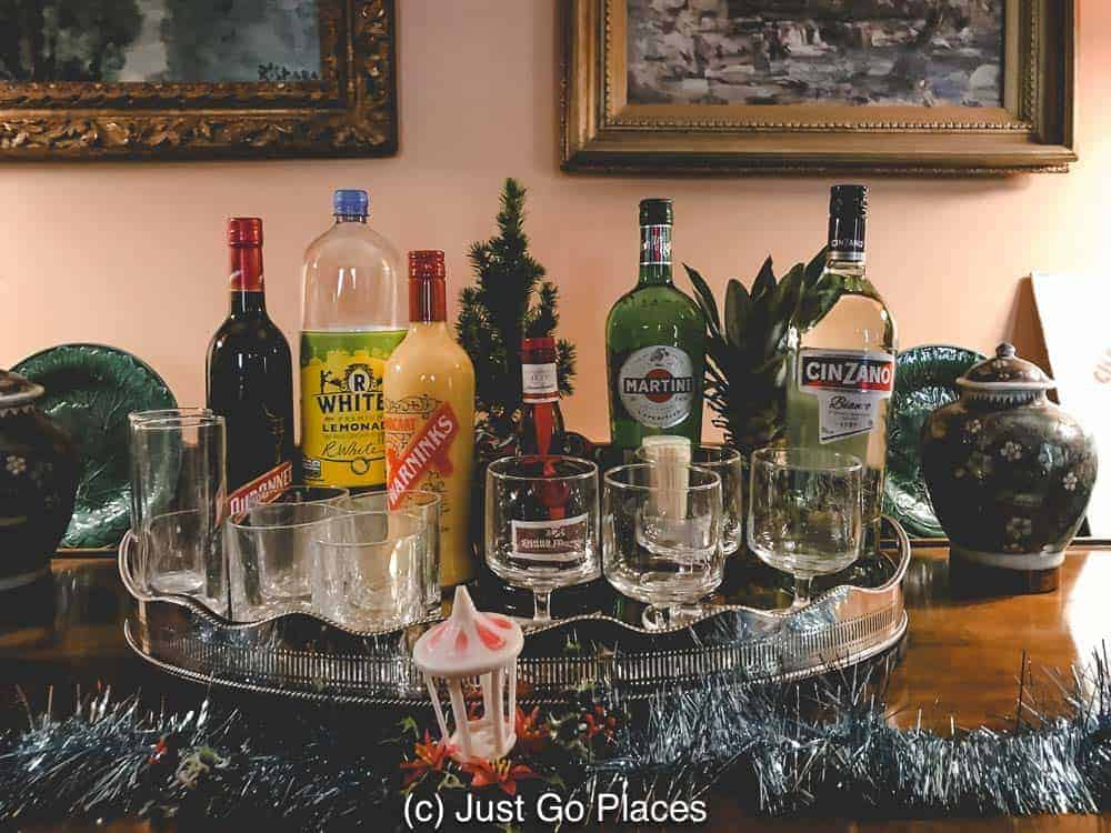 A 1970s Christmas in England had alcohol at the ready.