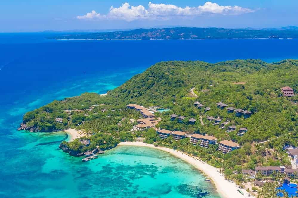 An aerial view shows off a wide stretch of famous Boracay beach