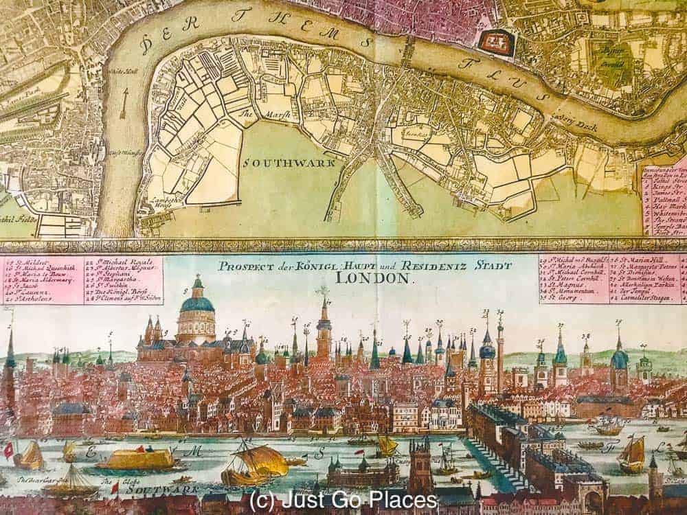 This antique map of London shows the Thames and the City of London during Elizabethan times.