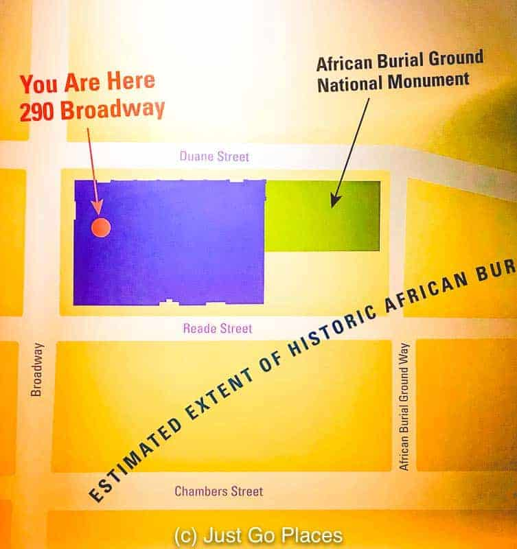 A map showing how the NY African Burial Ground relates to the area where it is now located