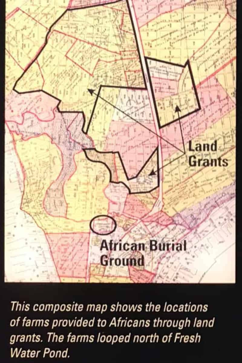 Here you can see the lands given to the 11 freed slaves in relation to the African Burial Ground Manhattan which was itself a far outpost of New Amsterdam