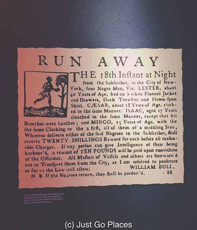 A reward offered for runaway slaves on display at the African Burial Ground New York