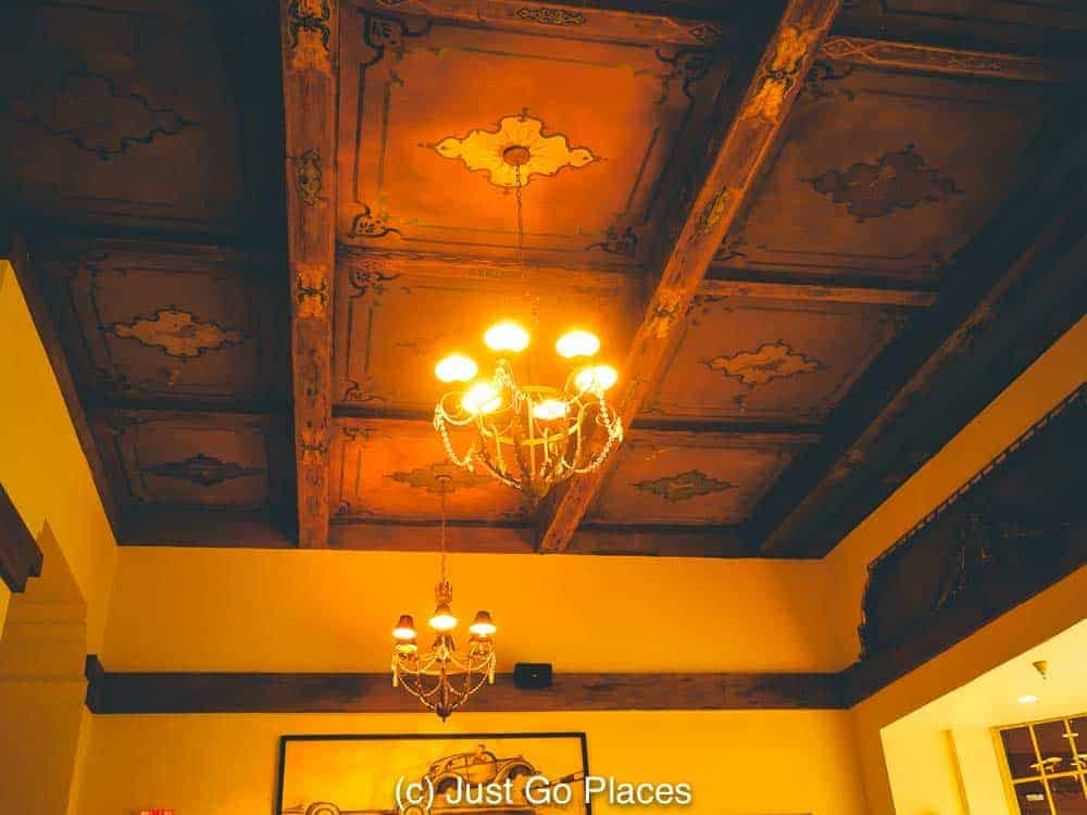 Wooden ceilings at the Silver Whistle Cafe at the Pontchartrain Hotel.