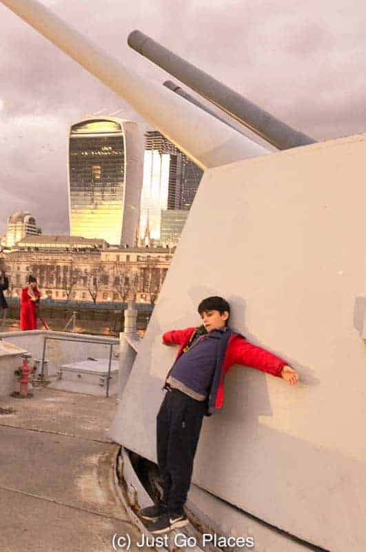On the deck of the HMS Belfast one of the best museums for children London
