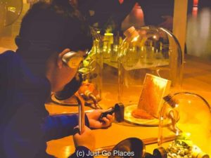 Trying to sniff the different aromas that wine can have.