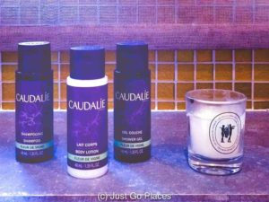 The bathroom toiletries at the Sources des Caudalie hotel are Caudalie product.
