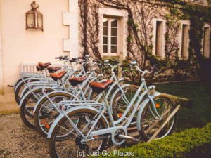 Bicycles are available to take out for a spin through the fields at this Bordeaux vineyard hotel.